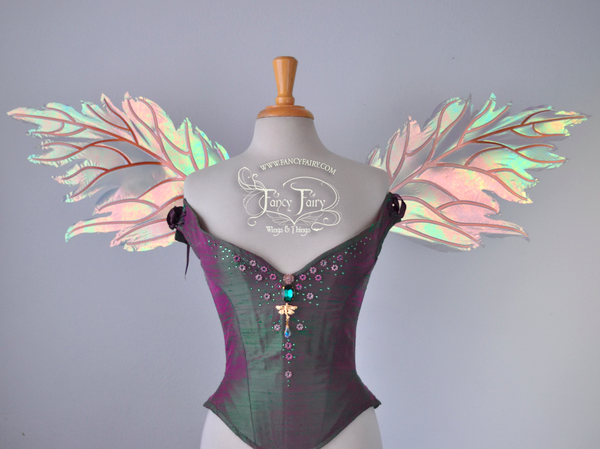 Rowan Iridescent Fairy Wings in Patina Green with Copper veins