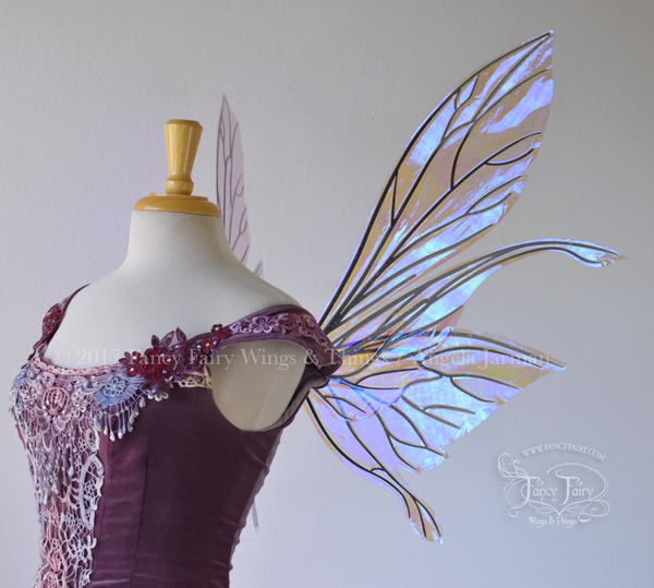 Salome Iridescent Fairy Wings in Lilac with Black Veins