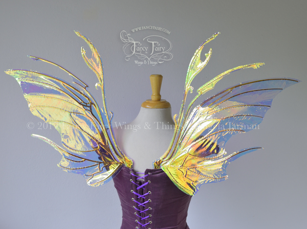 Scythe Iridescent Fairy Wings in Clear Iridescent with Copper Veins