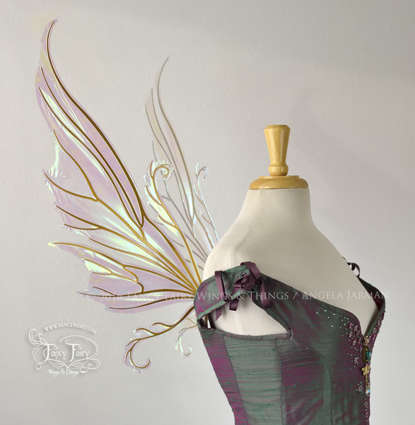 Serena Iridescent Fairy Wings in Satin White with Gold veins