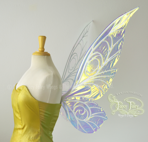 Trinket 26 inch Iridescent Fairy Wings in Clear with Pearl veins