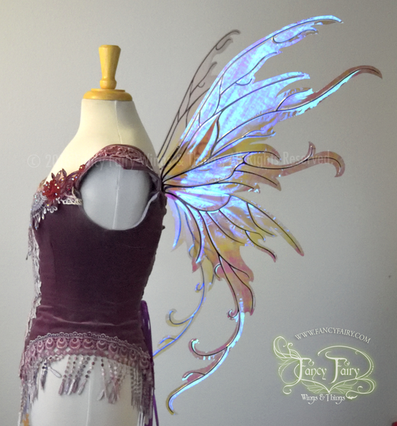 Amy Brown Inspired Iridescent Fairy Wings in Painted Grey on Lilac Film with Black veins