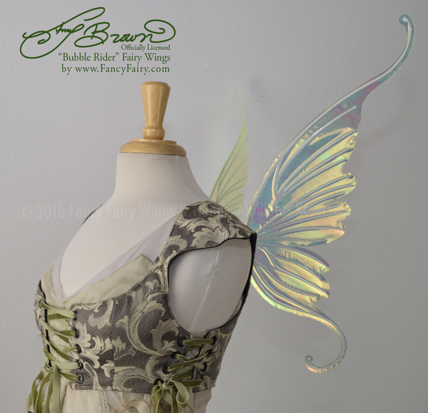 Amy Brown Ringmaster Iridescent Fairy Wings in neon yellow with pearl white veins