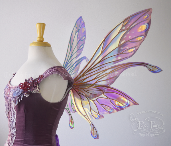 Salome Painted Iridescent Fairy Wings in Burgundy and Sunset with Copper Veins