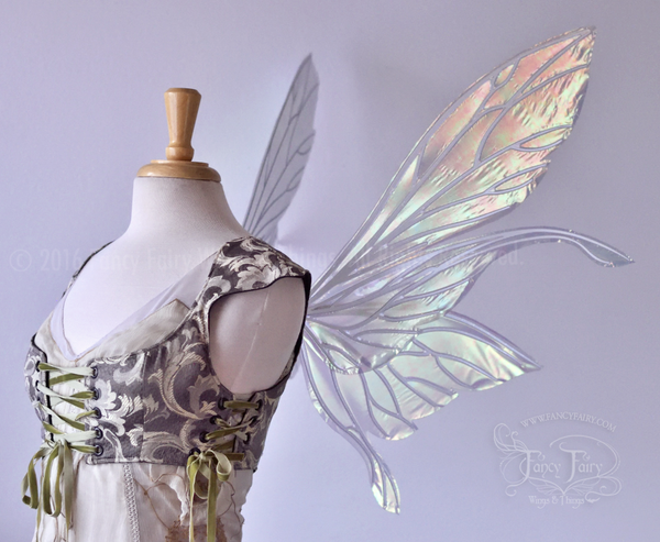 Salome Iridescent Fairy Wings in Patina Green with Pearl Veins