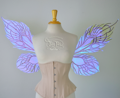 Sintra Iridescent Convertible Fairy Wings in Ultraviolet with Chameleon Cherry Violet veins