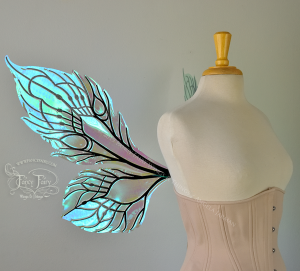 Sintra Iridescent Convertible Fairy Wings in Absinthe with Black veins