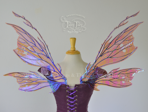 Thistle Iridescent Fairy Wings in Iridescent Berry with Black Veining