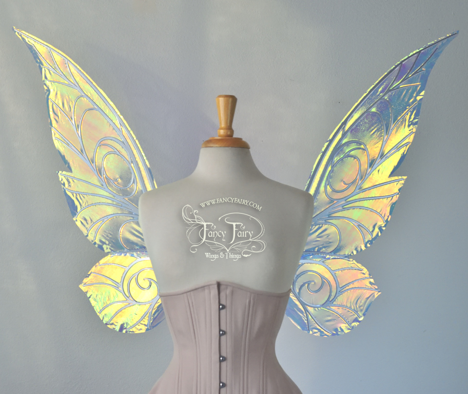 Trinket 26 inch Iridescent Fairy Wings in Clear with Chrome veins