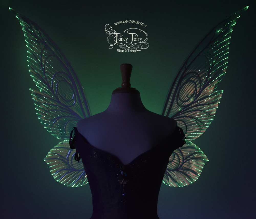 Trinket 26 inch Iridescent Green Light Up Fairy Wings in Clear with White Veins