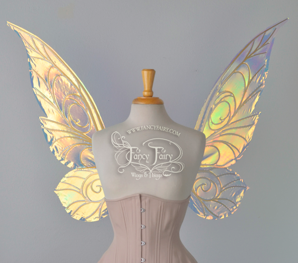 Trinket 26 inch Iridescent Convertible Fairy Wings in Clear with Gold veins