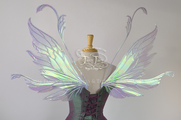 Vivienne Iridescent Fairy Wings in Light Blue with Pearl Veins and Swarovski Crystals
