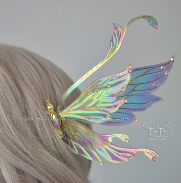 Fauna Iridescent Convertible Fairy Wings and Winged Hair Comb set in Opal Rainbow with Swarvski Crystals
