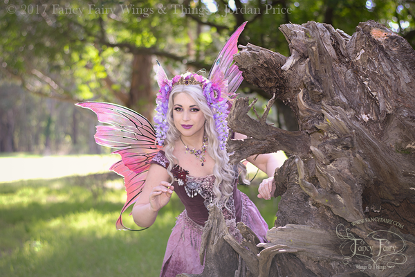 Aphrodite Painted Iridescent Fairy Wings in Ultraviolet Fuchsia with Black Veins