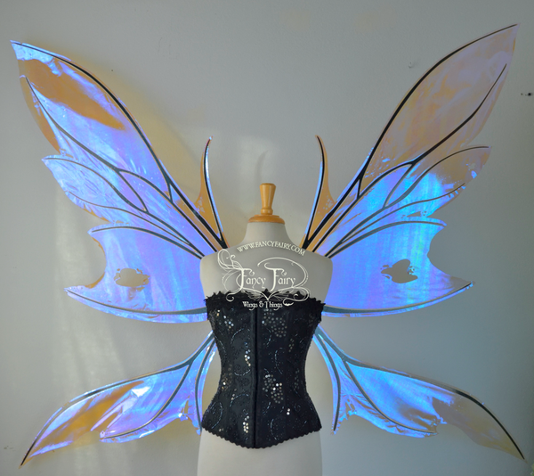 Extra Giant Kira Iridescent Fairy Wings in Lilac with Black Veins