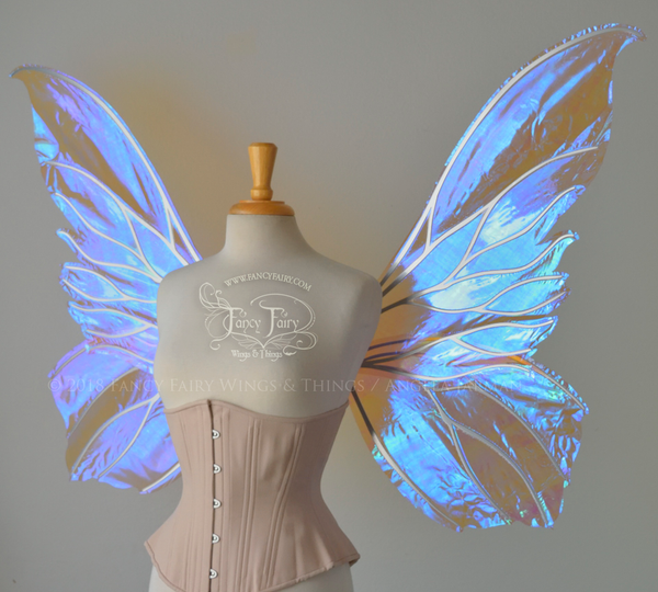 Extra Large Clarion Iridescent Fairy Wings in Lilac with Chrome Silver veins