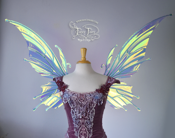 Extra Large / Giant Flora Iridescent Fairy Wings in Clear Diamond Fire with Green Veins