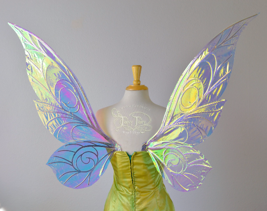 Trinket Extra Large Iridescent Fairy Wings in Clear with Silver veins