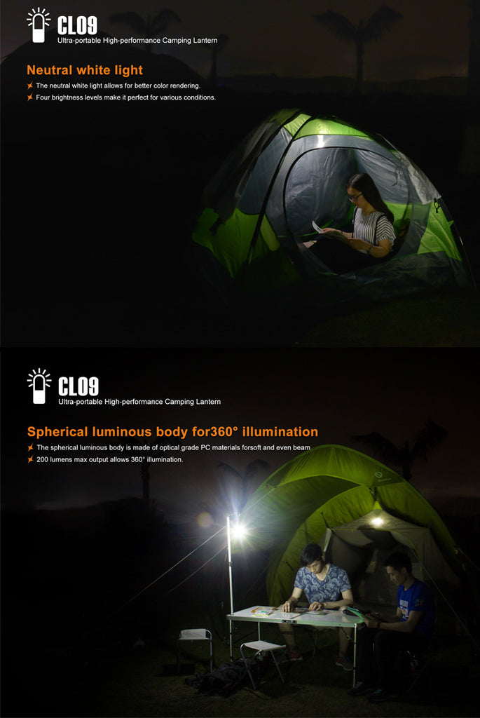 FENIX CL09 CAMPING LANTERN BLACK COLOR WITH BATTERY