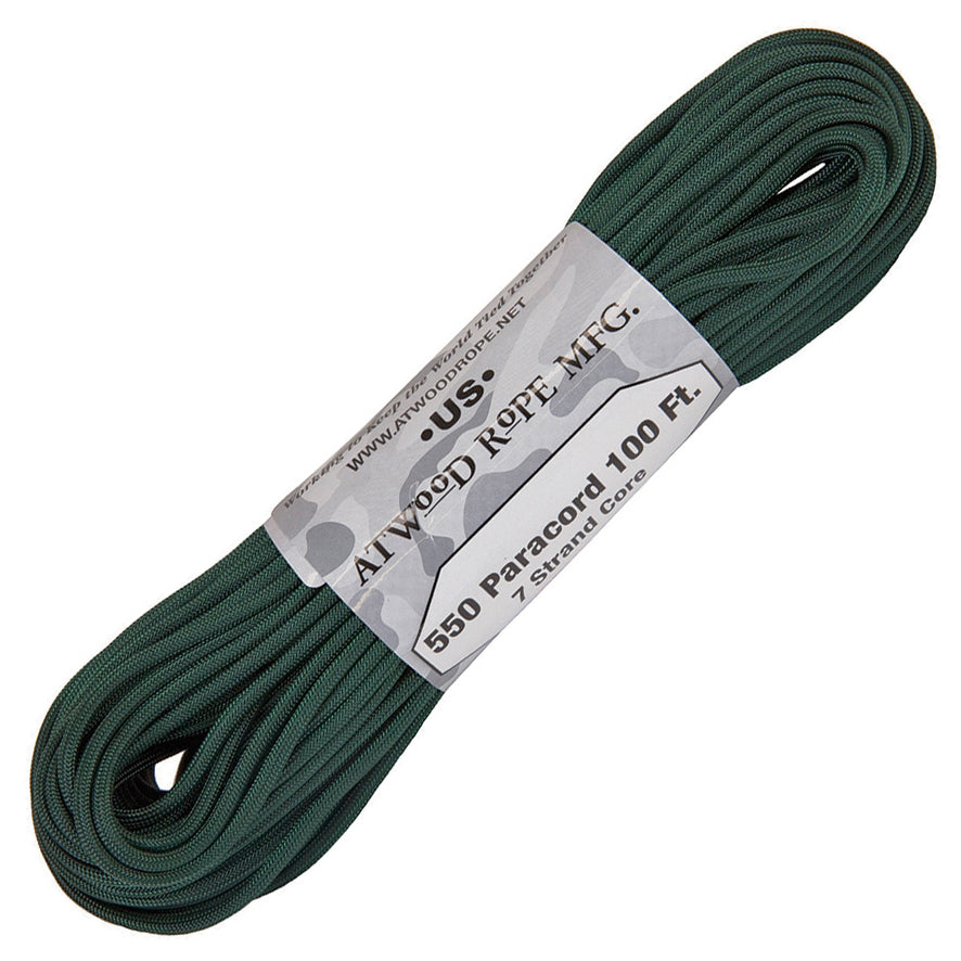 Atwood Paracord (Parachute cord) 550 Type, 7 Strands, 100 Feet (Green Hunter Color)