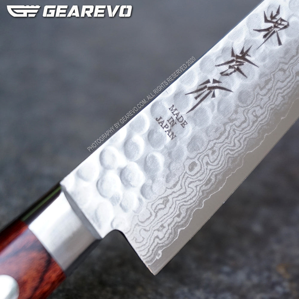 Sakai Takayuki 17 Layers Damascus and Hammered Pattern Petty Knife 135 mm Blade (Original)