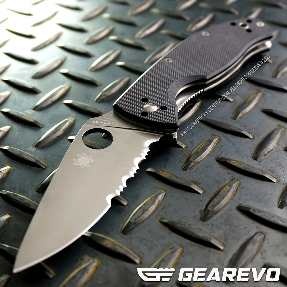Spyderco Tenacious Serrated + Plain Edge Folding Knife (Original)