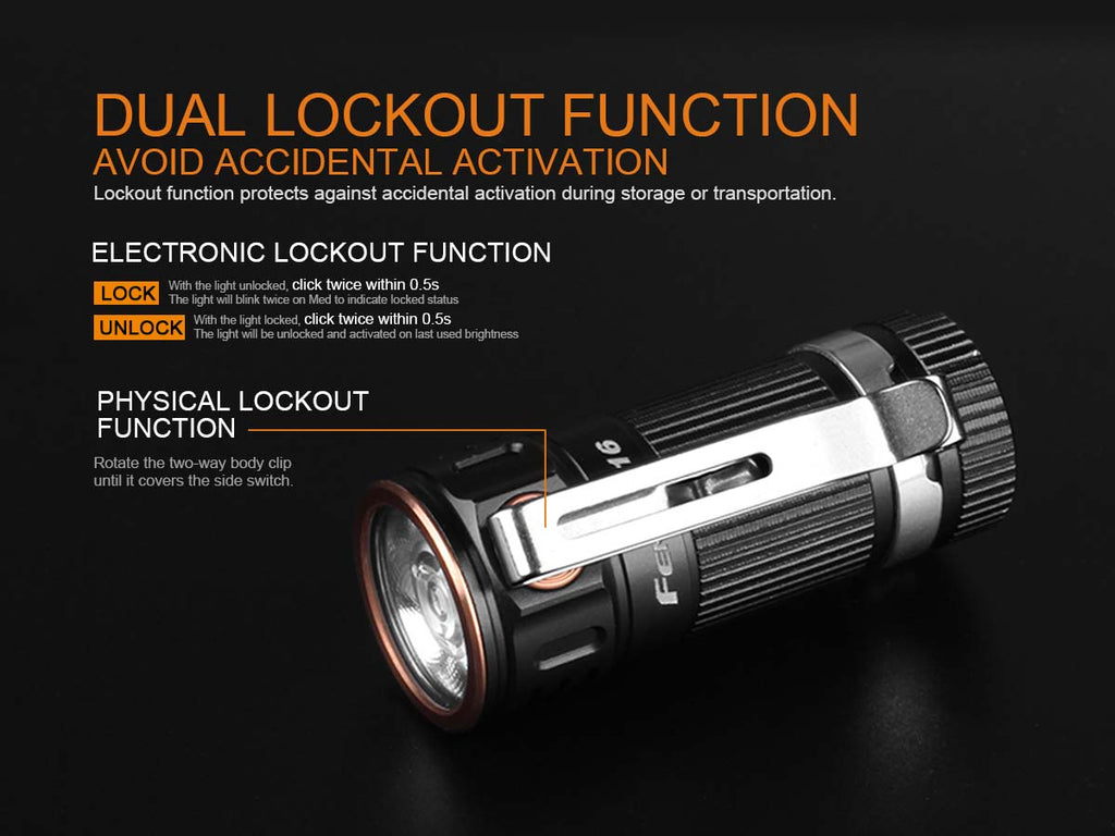 Fenix E16 XP-L Hi Neutral White Led Flashlight - Max 700 Lumens Ultra Compact EDC Flashlight