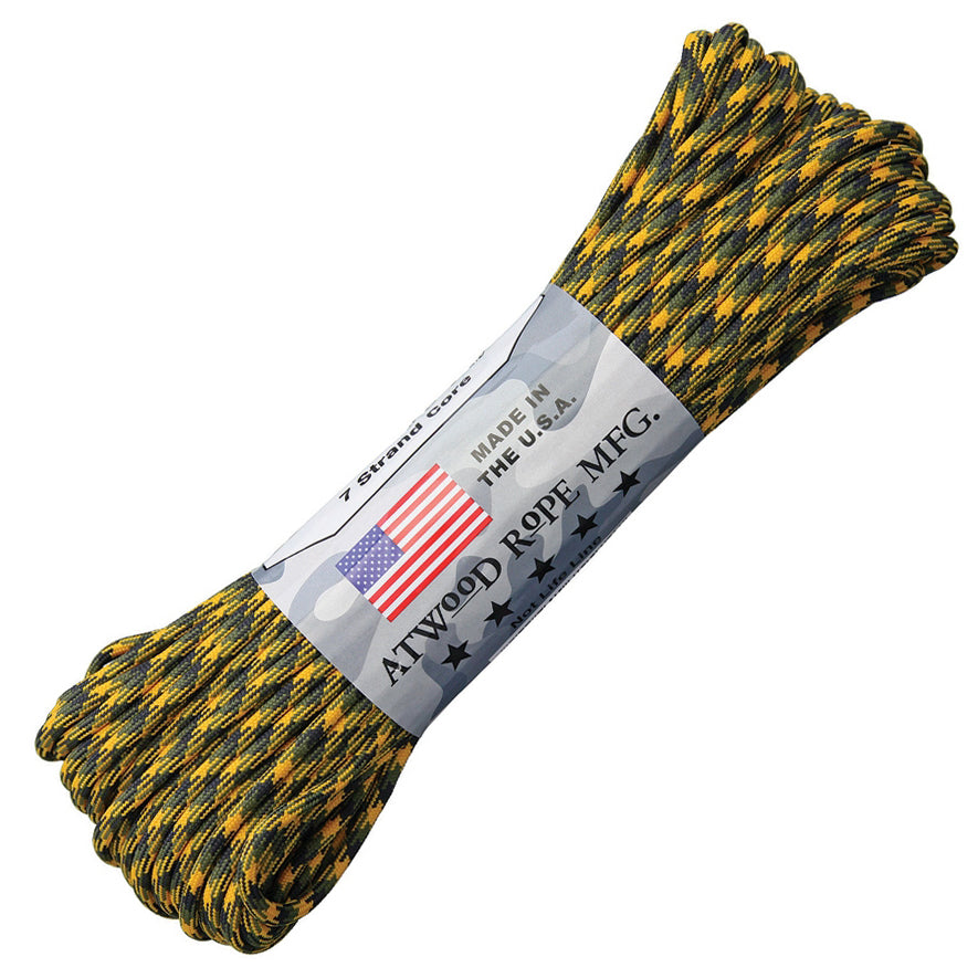 Atwood Paracord (Parachute cord) 550 Type, 7 Strands, 100 Feet  (Bulldozer - Black/Yellow/Green Color)