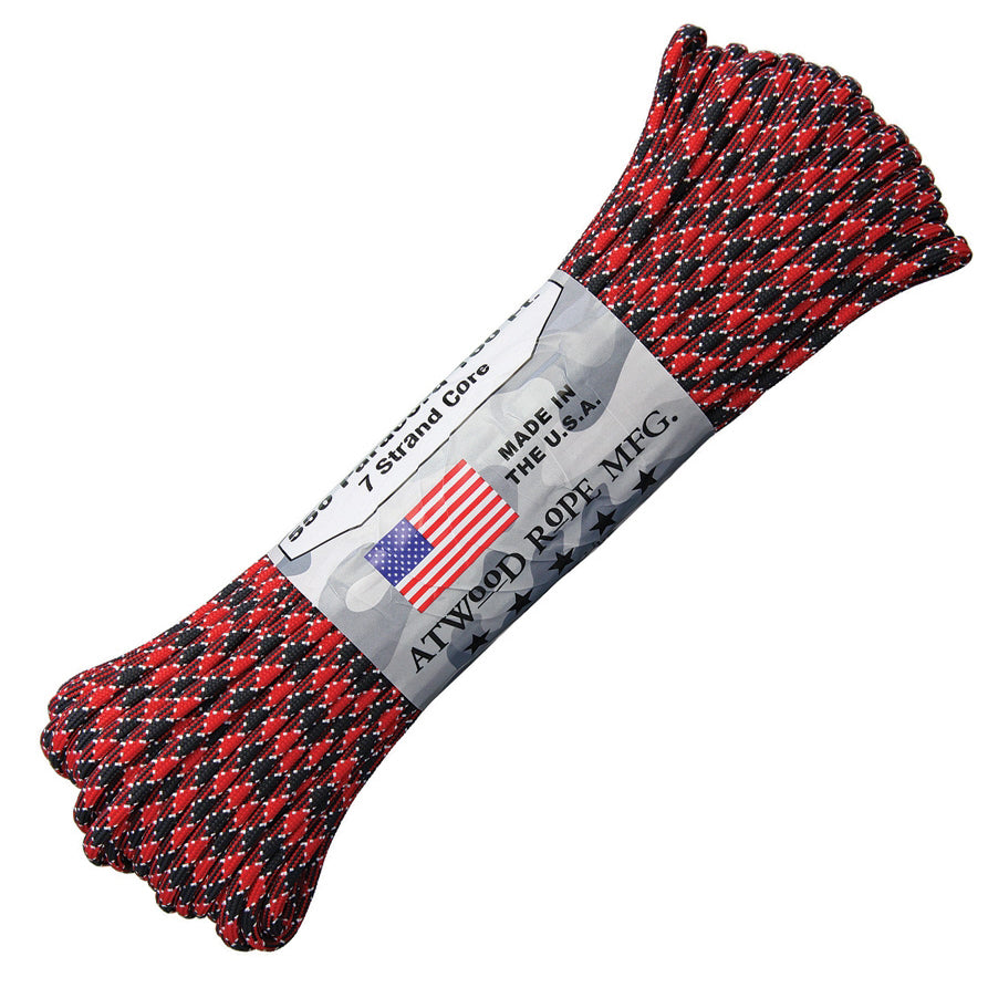 Atwood Paracord (Parachute cord) 550 Type, 7 Strands, 100 Feet  (Dead Pool - Red/White/black Color)