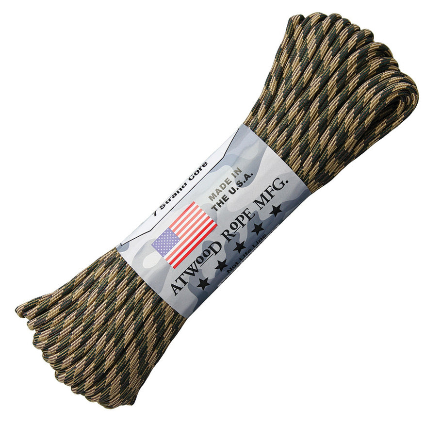 Atwood Paracord (Parachute cord) 550 Type, 7 Strands, 100 Feet  (Broken Arrow - Black/Dark Green Color)