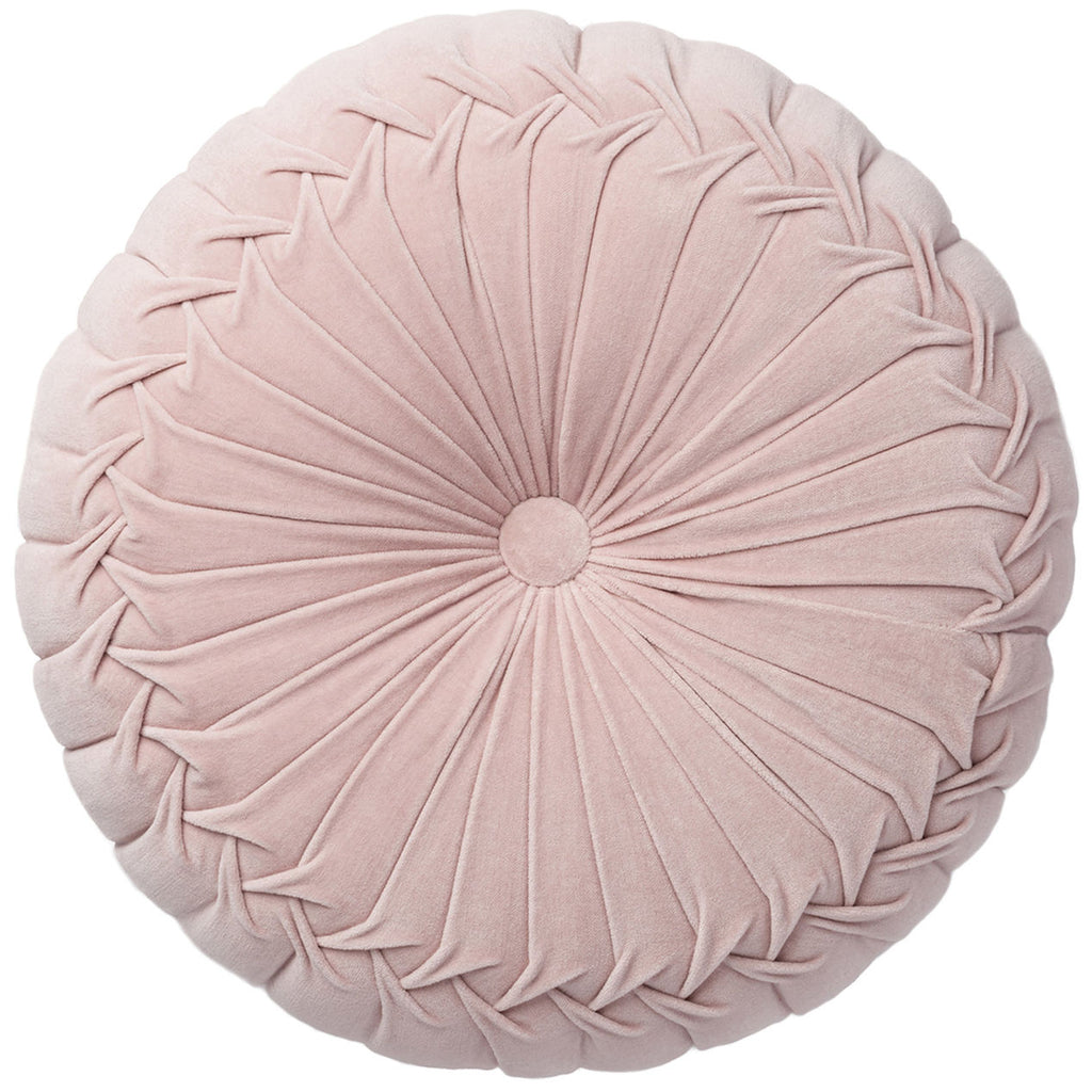 Pleated Round Pink Velvet Pillow