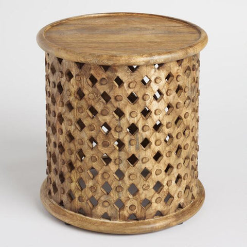 TRIBAL CARVED SIDE TABLE