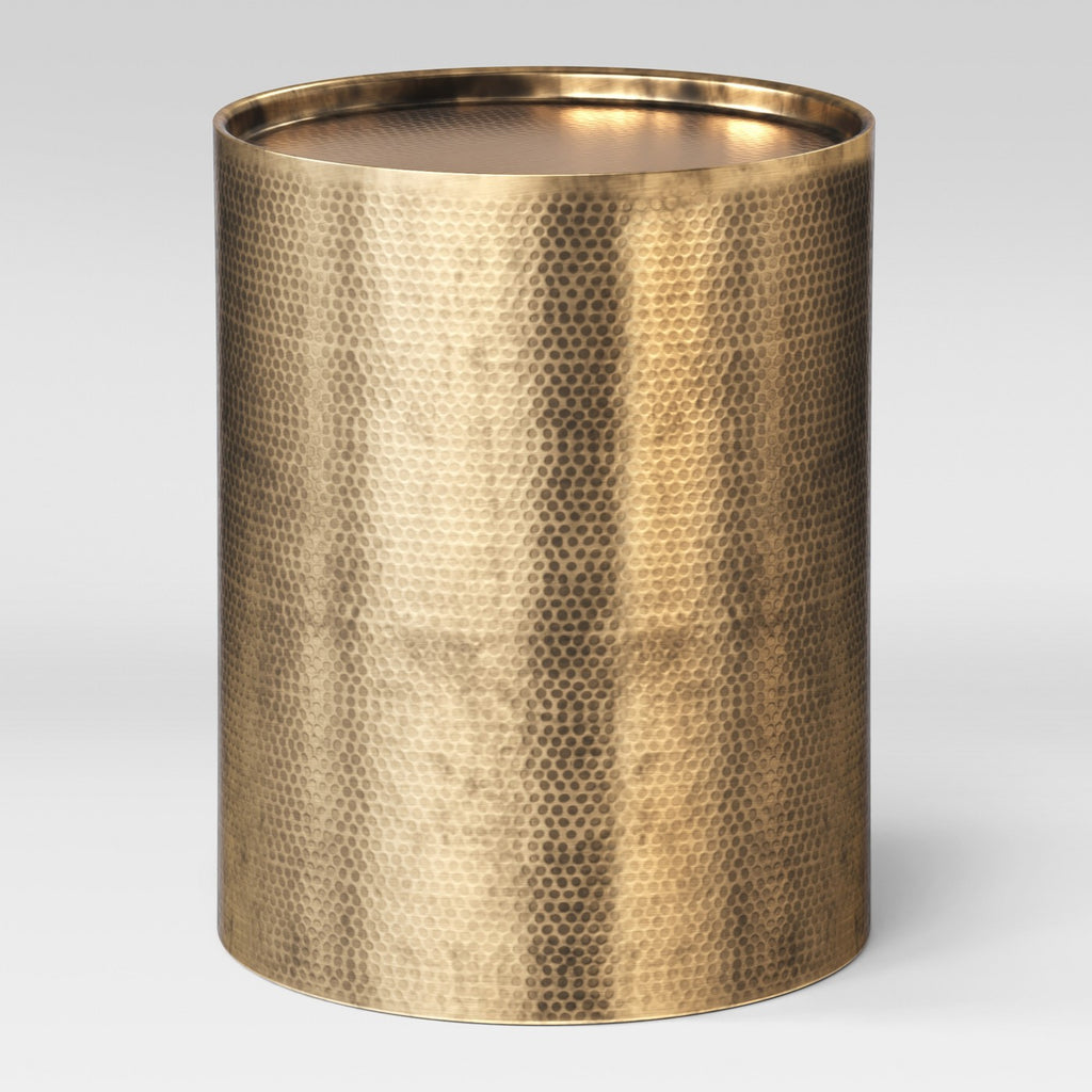 Brass Hammered Drum End Table