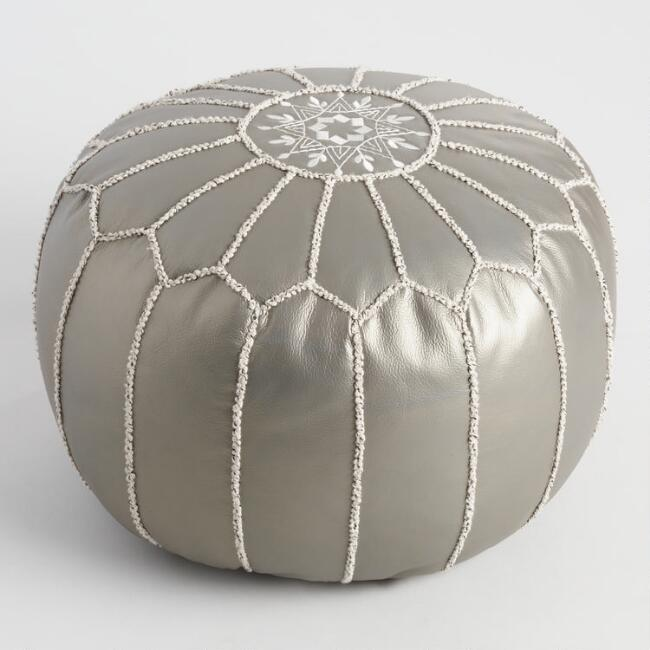Metallic Silver Leather Pouf