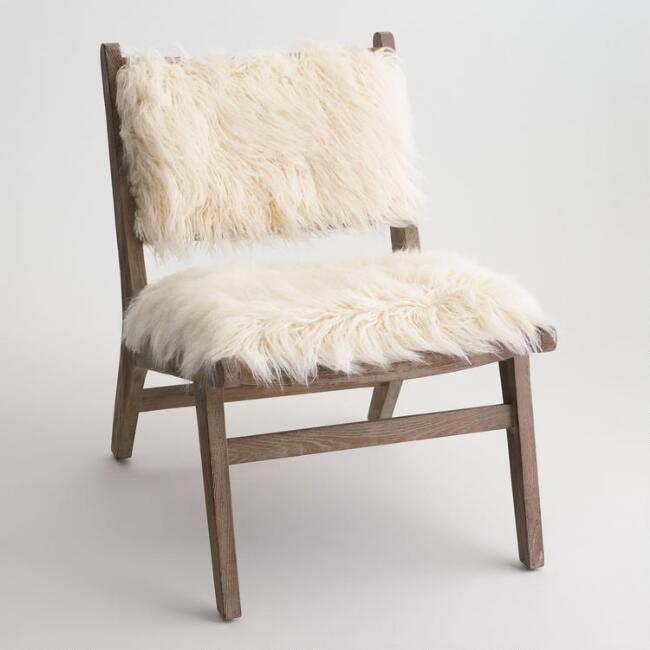 Ivory Faux Sheepskin Chair