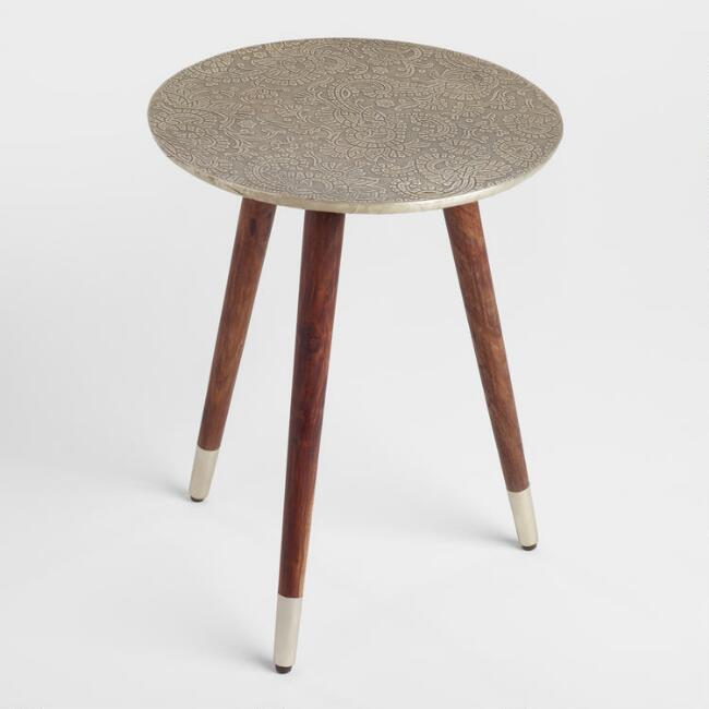 Embossed Silver Accent Table