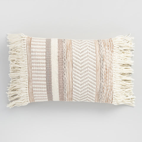 Neutral Stripe Fringe Pillow