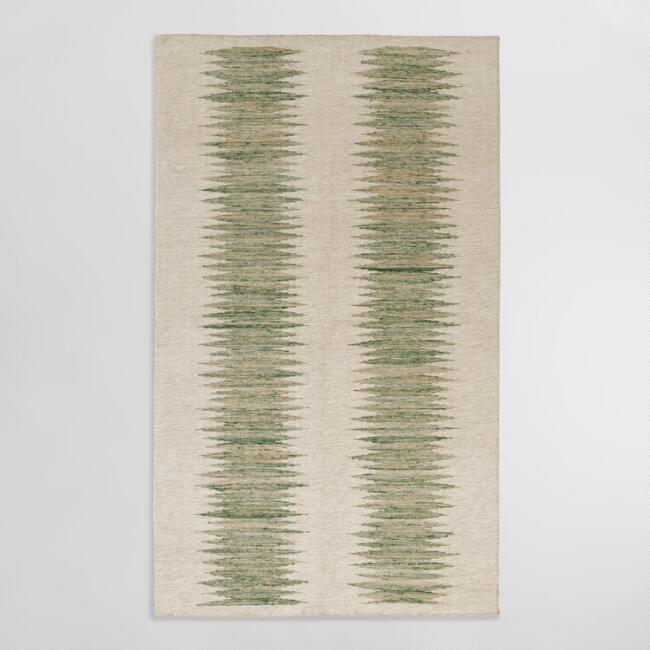 Green & Ivory Double Ikat Rug