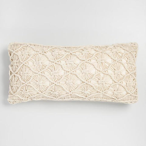 Natural Macrame Lumbar Pillow