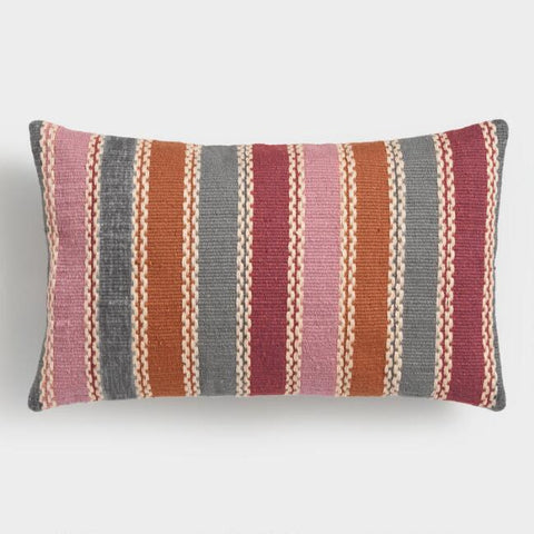 Warm Multicolor Woven Lumbar Pillow