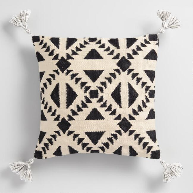 Black & White Geo Woven Throw Pillow