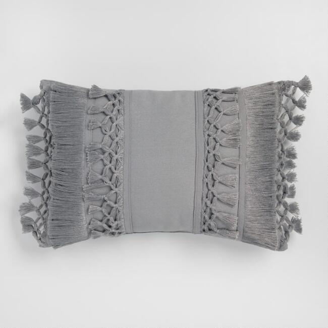 Grey Fringe Lumbar Pillow