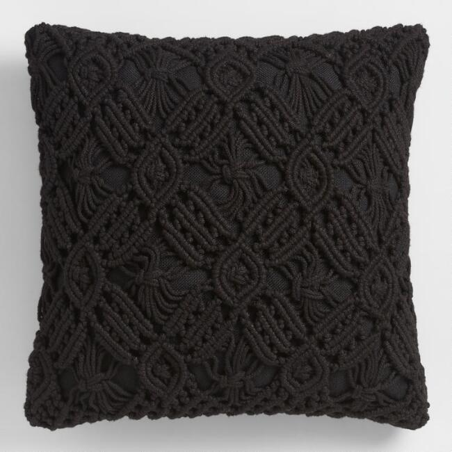Black Macrame Throw Pillow