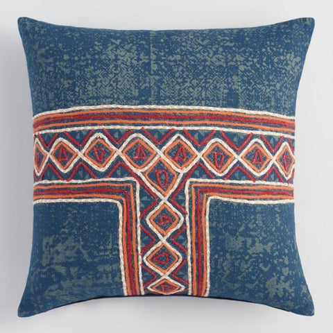 Indigo Embroidered Linen Pillow