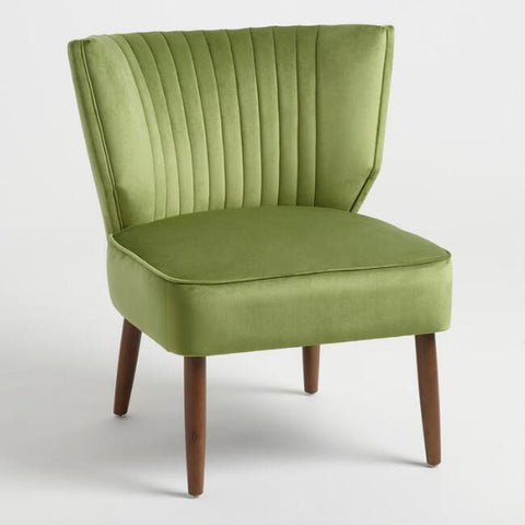 Green Velvet Channel Back Chair