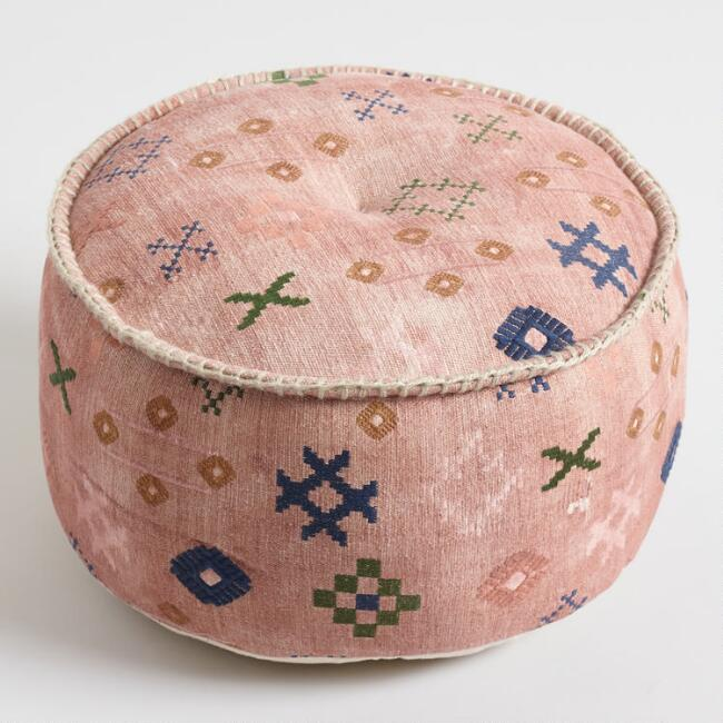 Blush Abstract Symbol Pouf