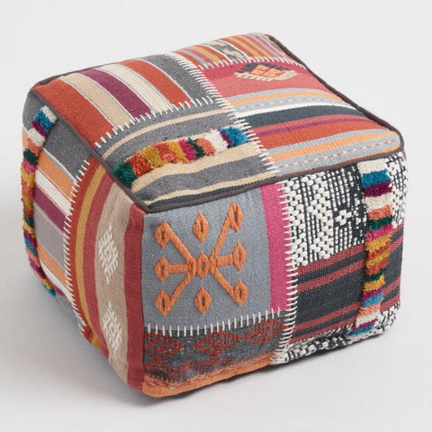 Multicolored Kilim Floor Pouf