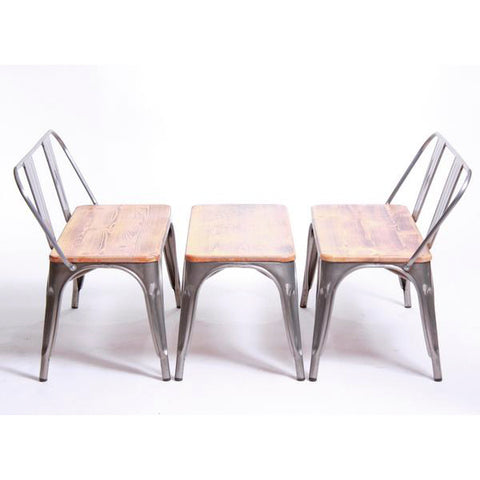 Metal/Wood Bench Set