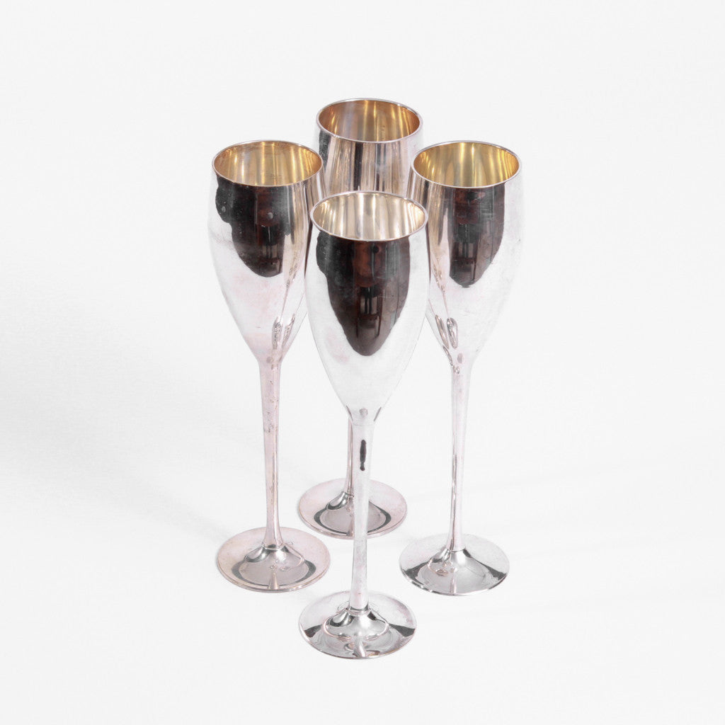 Silver Champagne Toasting Glasses