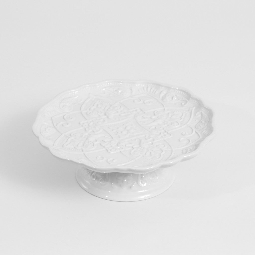 Cake Stand- White Etched